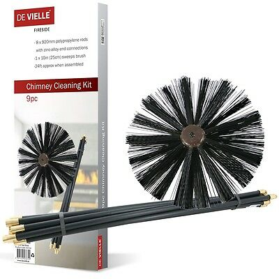 Chimney Cleaning Kit | De Vielle 9 Piece Chimney Cleaning Kit 24 Foot Reach