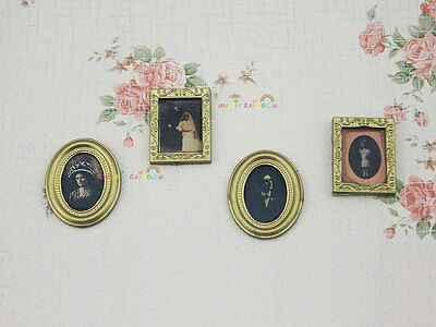 4pc Family Painting Picture Photo Frame Barbie Blythe Dollhouse Miniature 1:12