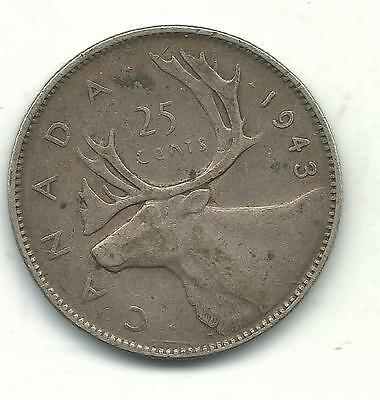 VERY NICE BETTER GRADE VINTAGE 1943 CANADA 25 CENTS SILVER COIN-JAN613