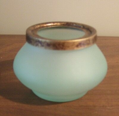 Vintage green jade glass posy bowl from Medellin, Colombia, South America RARE!