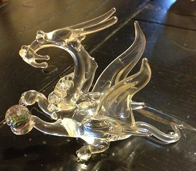 Vintage Dragon Eith Crystal Ball Figurine Winged Hand Blown Crystal Glass