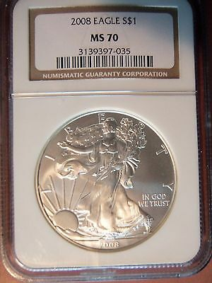 2008 American Silver Eagle 1 Oz MS70 NGC Brown Label