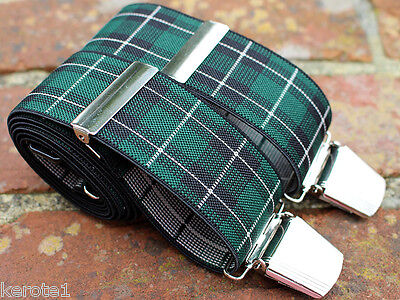 Trouser Braces Black Watch Tartan Style Adjustable 35mm Heavy Duty Clasps