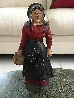 Antique Wilton Products Full Figure Amish Lady Cast Iron Doorstop Original Paint