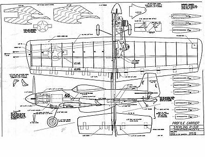 """P-51 MUSTANG Sterling Model airplane kit plan 38"""" wing .35 size Profile Carrier"""
