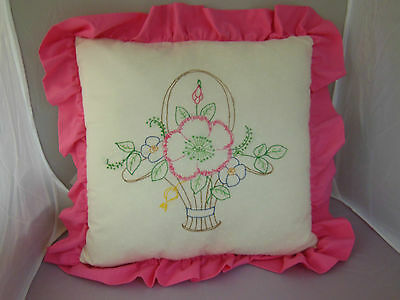 """Vintage Hand Embroidered 16"""" Square + 2.25"""" pink ruffled Pillow basket of flower"""