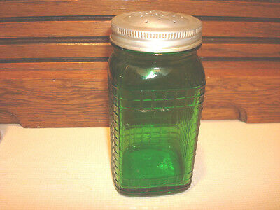 "VINTAGE 4 1/2""  GREEN DEPRESSION OWENS ILLINOIS  GLASS SHAKER  ALUMINUM  LID"