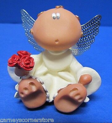 "Sculpted 2 1/2"" Polymer Clay Angel w gold Metal Wings White Gown Red Roses MINT"