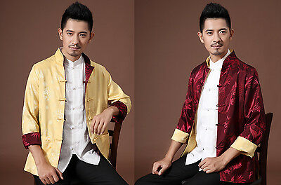 Free Shipping!Double Face New Chinese Men's Full Dragon Kung Fu Jacket Coat