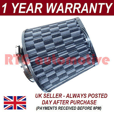 Carbon Universal Performance Cone Induction Kit Mesh Air Filter With Adaptors