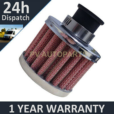 12mm AIR OIL CRANK CASE BREATHER FILTER MOTORCYCLE QUAD CAR RED & CHROME ROUND