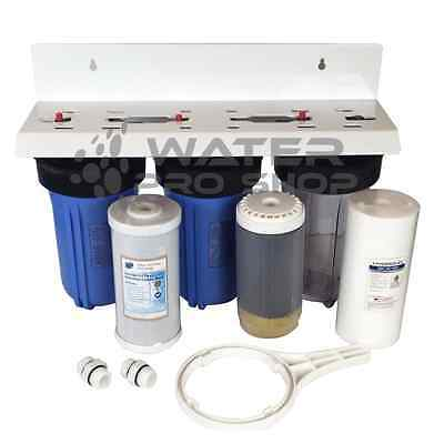"KDF 55 Triple Whole House Big Blue Space Saver Water Filter System 10"" - 1"" NPT"