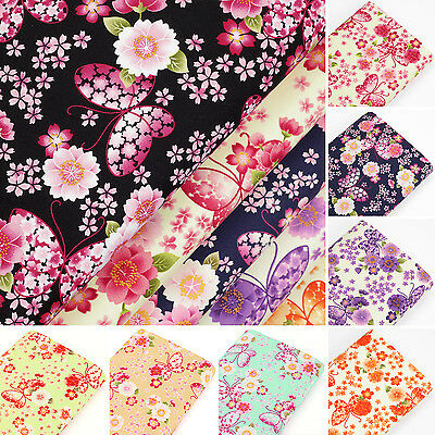 Cotton Fabric FQ Japanese Butterfly & Oriental Sakura Flower Dress Quilting VK54