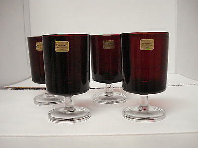 Set of Four Luminarc Ruby Red Glasses