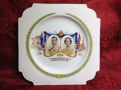 KING GEORGE VI AND QUEEN ELIZABETH 1939 COLLECTOR PLATE by AYNSLEY ~ ENGLAND