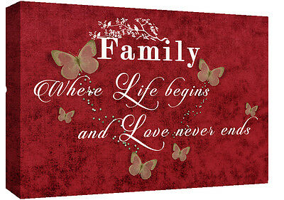 FAMILY QUOTE Where Life Begins - RED - Canvas Wall Art Picture Print- ALL SIZES