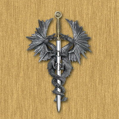 Decorative DRAGON DAGGER WALL PLAQUE Decor Mounted Mythical Statue NEW