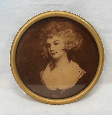 Great antique very Early round framed photo of young lady