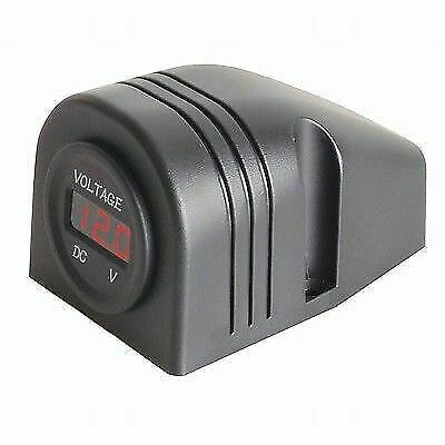 Powertech Self Powered Round LED Voltmeter New Caravan Camping RV Accessories