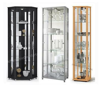 Retail Lockable Glass Display Cabinets Corner, Double & Single - 6 colours