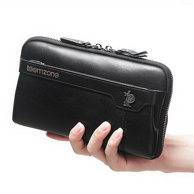 Genuine Soft Leather Waterproof Clutch Wallet Smart Phone Organizer Checkbook