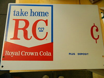 Royal Crown Cola Double Sided Metal Sign NOS Very Nice RC Soda Advertising Sign