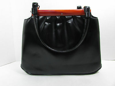 Vintage Garay Black w/ Tortoise Trim Pill Box Purse Handbag C. Mid Century