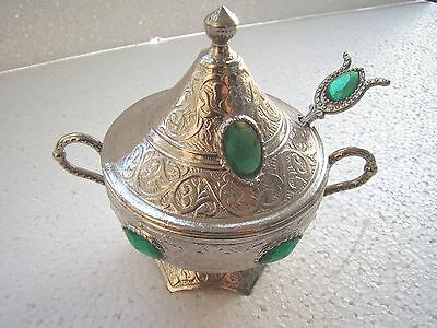 Traditional Handmade Vintage Style Copper Turkish Sugar Bowl with Green Stones