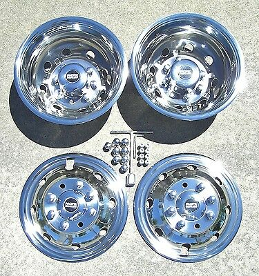 """Ford E350  E450 Cutaway Van Chassis 16"""" 92-07 Stainless Dually Wheel Covers"""