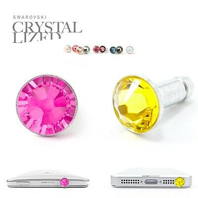 2pc Anti Dust Plug Ear Cap Made with Swarovski Element Crystal Citrine+Pink