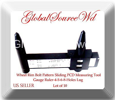 Wheel Rim Bolt Pattern Sliding PCD Measuring Tool Gauge Ruler-4-5-6-8-Holes Lug