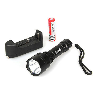 UltraFire CREE XML XM-L T6 2000 LM C8 LED Flashlight Torch+18650 Battery+Charger