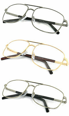 Man Women Metal Frame Aviator Full Clear Lens Reading Glasses Spring Temple RE44