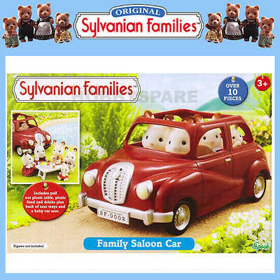 NEW SYLVANIAN FAMILIES FAMILY SALOON CAR RED with PULL OUT TABLE etc  4611