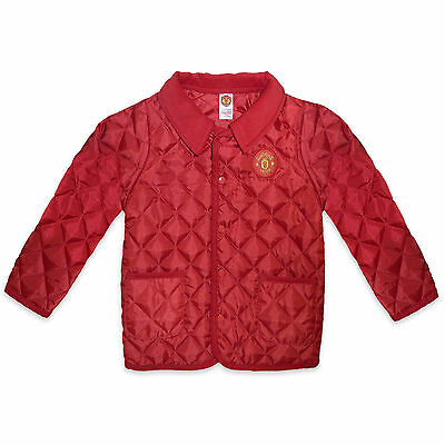 Manchester United FC Official Football Gift Baby Boys Quilted Jacket Red