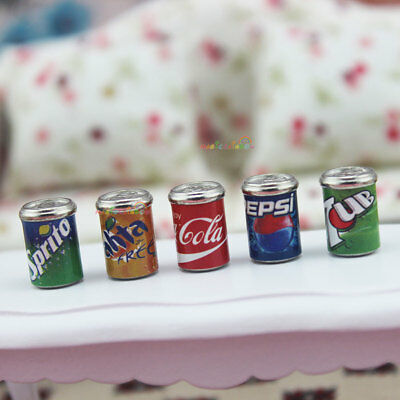 5 x CANS of Cola Sprite Fanta Pepsi 7-Up Soft Drink Dollhouse Miniature 1:12