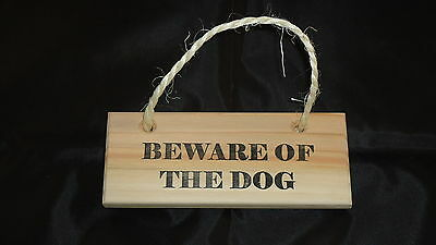Wooden Plaque Sign Hanging - Beware Of The Dog - Shabby Chic - Handmade (6X2)