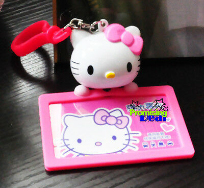 Hello Kitty Badge ID Credit Card Holder c/w Hook Pink