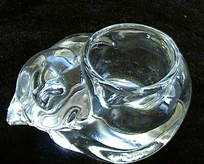 INDIANA GLASS * Cat Votive Candleholder Holder - Heavy solid glass WITH ORIG.TAG