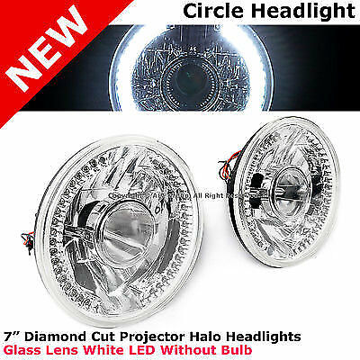 Universal 7 In Front Bumper Diamond Cut Projector Headlight Lamp 34 LED White