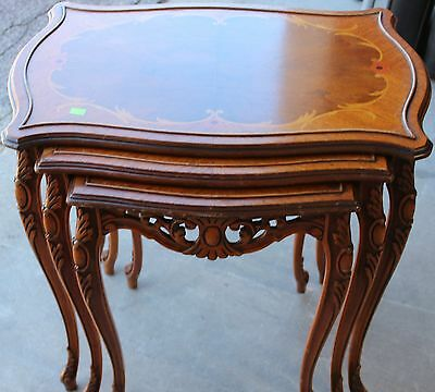 French-Style Inlaid Nesting Tables - set of three