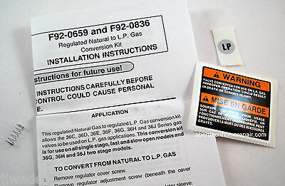 White-Rodgers 92-0659 Conversion Kit Natural Gas to L.P. Liquid Propane