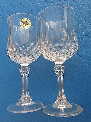 """Wine Glasses Set 2 French Cristal D' arques Longchamp Crystal 6 1/2 """" Tall #1"""
