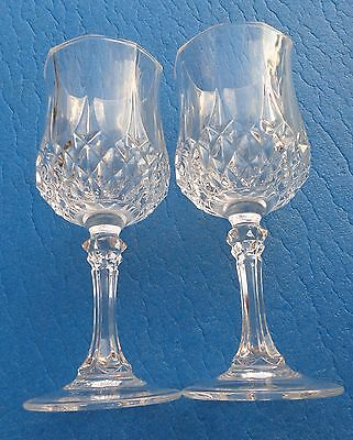 """Wine Glasses Set 2 French Cristal D' arques Longchamp Crystal 6 1/2 """" Tall #3"""