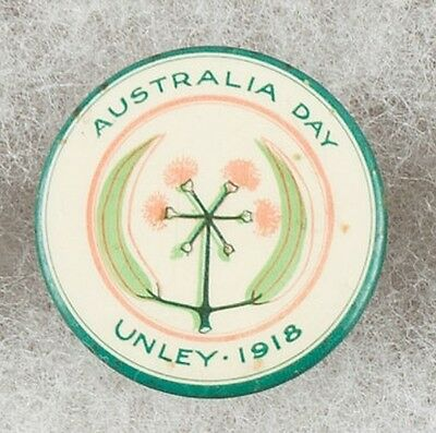 World War One Australia Day Unley 1918 Pinback Button Badge -  Very Scarce