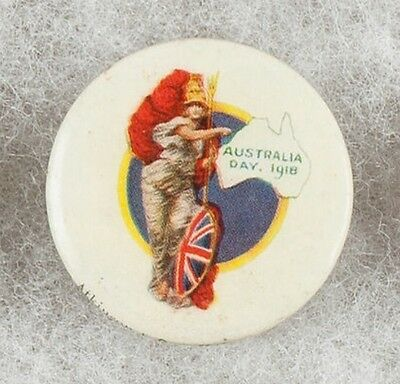 World War One Australia Day 1918 Australian Red Cross Pinback Button Badge