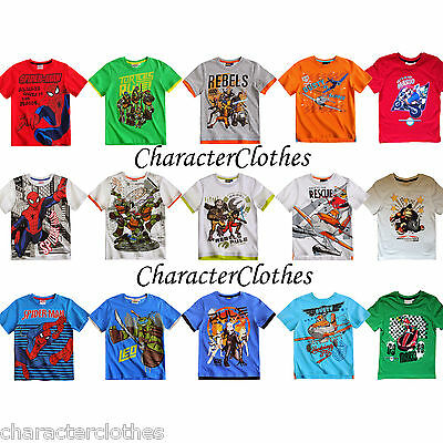 New Official Boys CHARACTER T-shirt Kids Cartoon Short Sleeve Top Age 2-12 Years