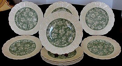10 Pcs Coalport England Kings Ware Oak Hill Chintz Pat  9 1/4 Plates Green Cream