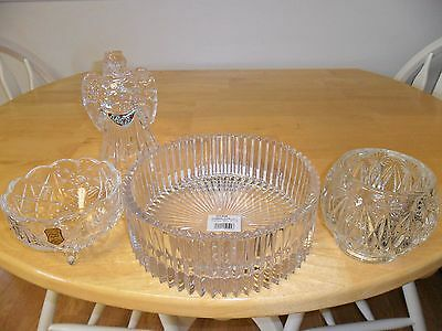 Lot of Crystal: Mikasa Diamond Fire Bowl, Avon Candle Holder, Footed Dish, Angel