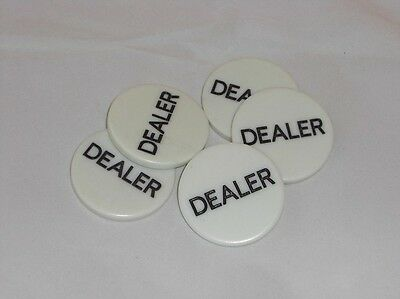 Lot of 5 DEALER BUTTONS 2 INCH TEXAS HOLDEM POKER CASINO Set of 5